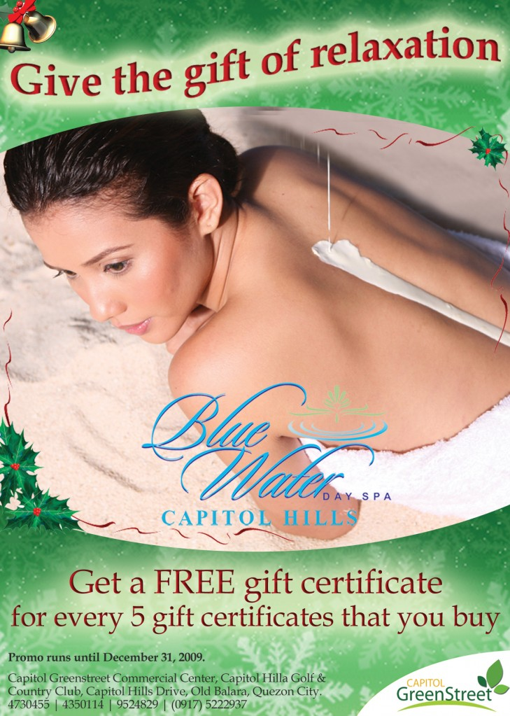 holiday promo blue water day spa