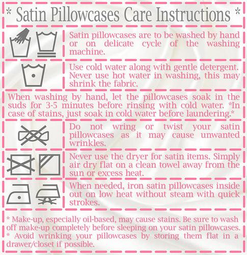 satin pillowcase care instruction