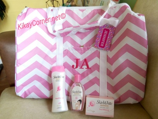 pink chevron overnight bag skin white