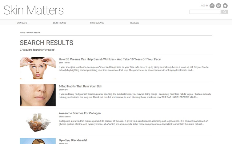 Skin Matters search results on wrinkles