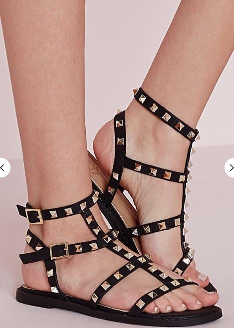 lyst studded flat gladiator sandals black