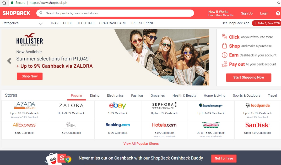 Shopback Earn Cashback for Online Shopping