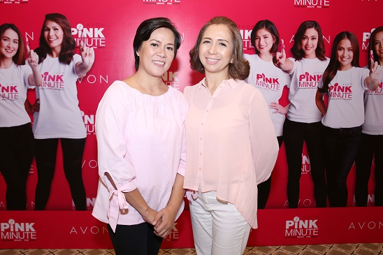 Pink Minute Avon Breast cancer survivors: Avon-PGH Breast Care Center Support Group Member Grace Alfonso and Avon Franchise Dealer Liz Manalansan