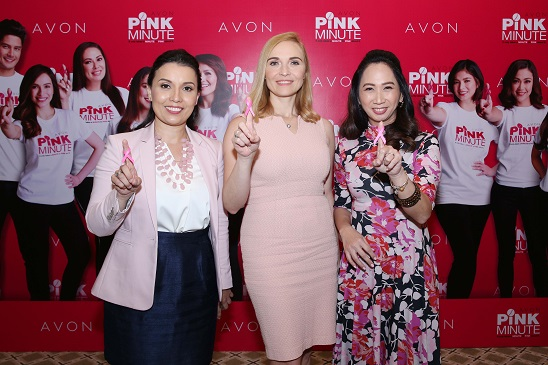 Avon Pink Minute Dr. Karin Estepa-Garcia of the Philippine Cancer Society, and Avon Philippines' Executive Director for Marketing Agnieszka Isa and Director for Communications, Philippines and Asia-Pacific Faith- Fernandez Mondejar come together to advocate and encourage breast self-exam through the Pink Minute campaign