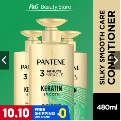 Pantene Keratin Smooth Pro-V 3 Minute Miracle Conditioner 480ml [Silky Smooth Care]