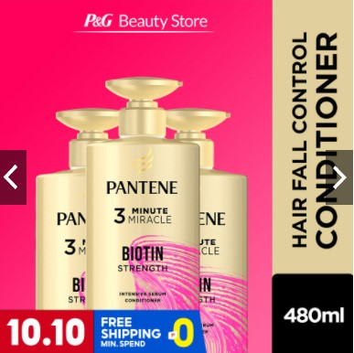 Pantene Biotin Strength Pro-V 3 Minute Miracle Conditioner [Hair Fall Control] 480ml